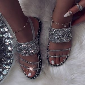 Just In Rhinestone Metallic Gemp clear Sandals